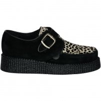 Buty Underground CREEPERS MONK SINGLE SOLE Black Suede Leopard