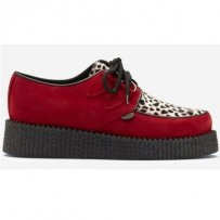 Buty Underground CREEPERS SINGLE SOLE Red Leopard Suede