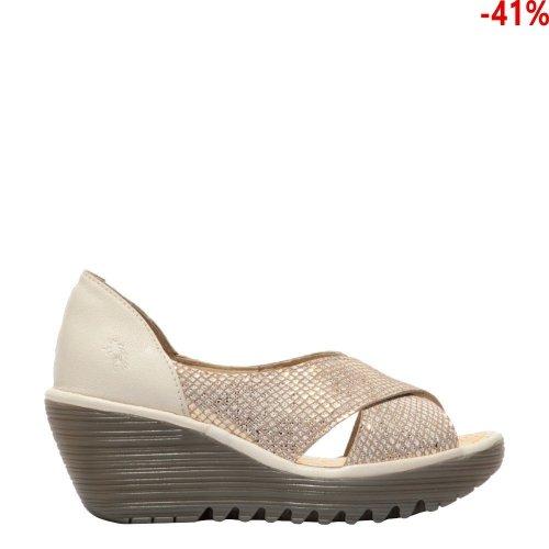 Sandały Fly London YOMA307 Tan Gold Off White P501307005