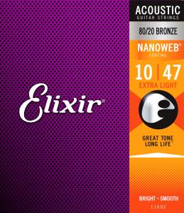 Struny ELIXIR NanoWeb 80/20 Bronze (10-47)