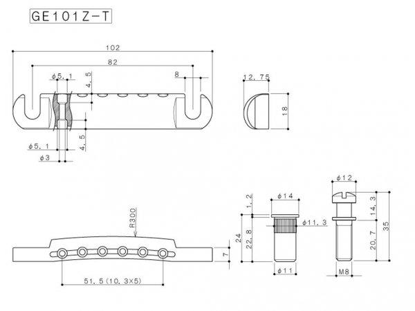Zaczep strun GOTOH GE101Z-T (BK)