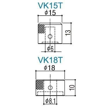 Gałka metalowa podwójna GOTOH VK15T/18T (BK)