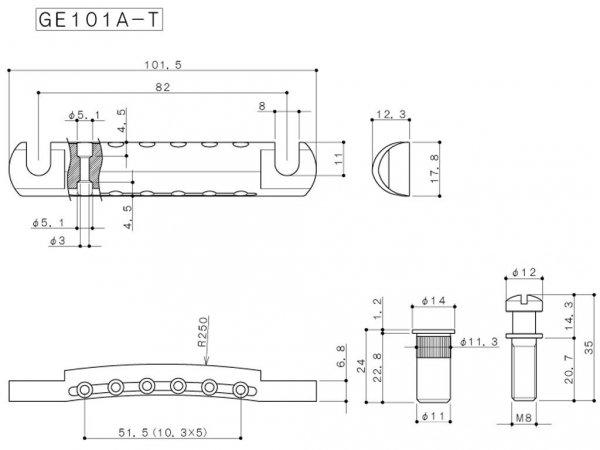 Aluminiowy zaczep strun GOTOH GE101A-T (CR)