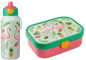 Zestaw bento lunchbox bidon 400ml Flamingi Mepal