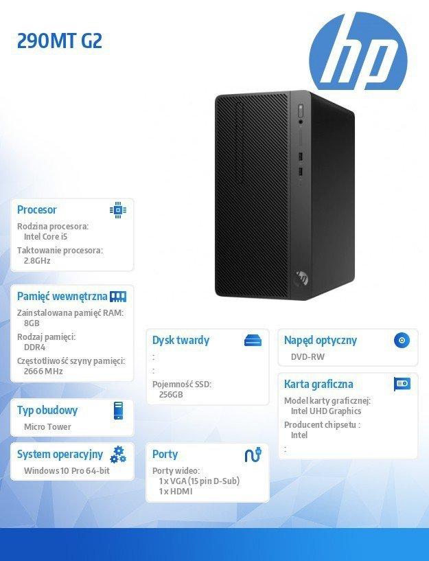 Komputer 290MT G2 i5-8400 256/8G/DVD/W10P  6JZ63EA