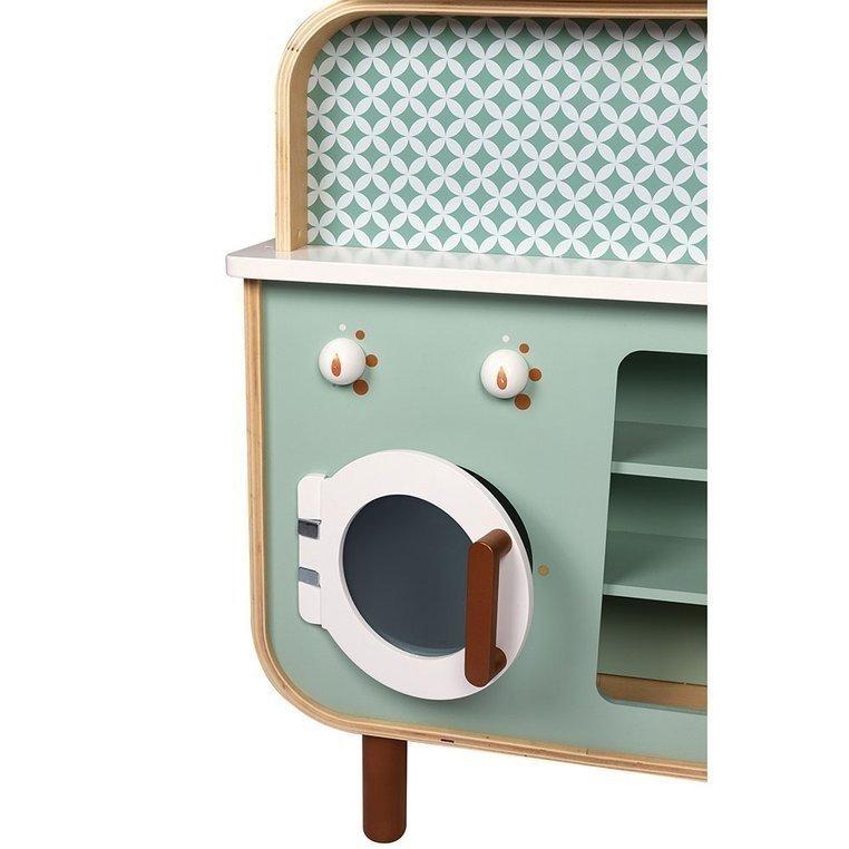 Dwustronna drewniana kuchnia z pralką 2w1, z dźwiękiem, światłem LED i 8 akcesoriami, Janod