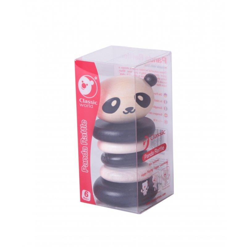 Grzechotka Classic World Drewniana  Czarno-Biała Panda