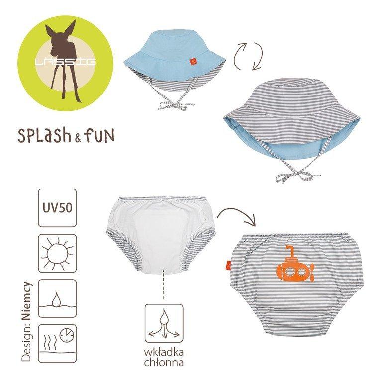 Lassig Zestaw kapelusz i majteczki do pływania z wkładką chłonną Submarine,  UV 50+