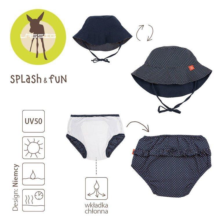 Lassig Zestaw kapelusz i majteczki do pływania z wkładką chłonną Polka Dots navy UV 50+