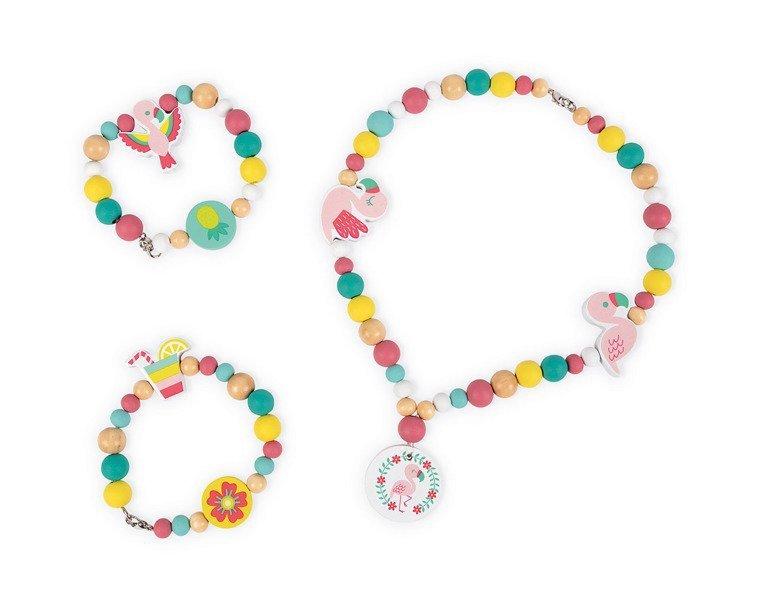 Zestaw do tworzenia biżuterii Drewniane koraliki Flamingi, Janod