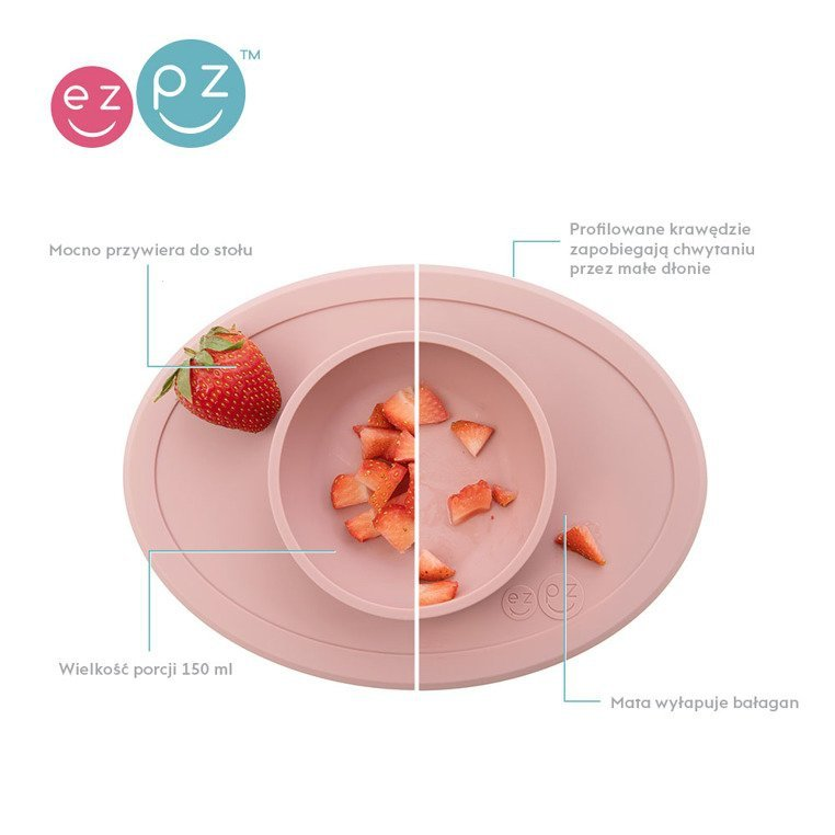 EZPZ Komplet pierwszych naczyń silikonowych First Foods Set pastelowy róż