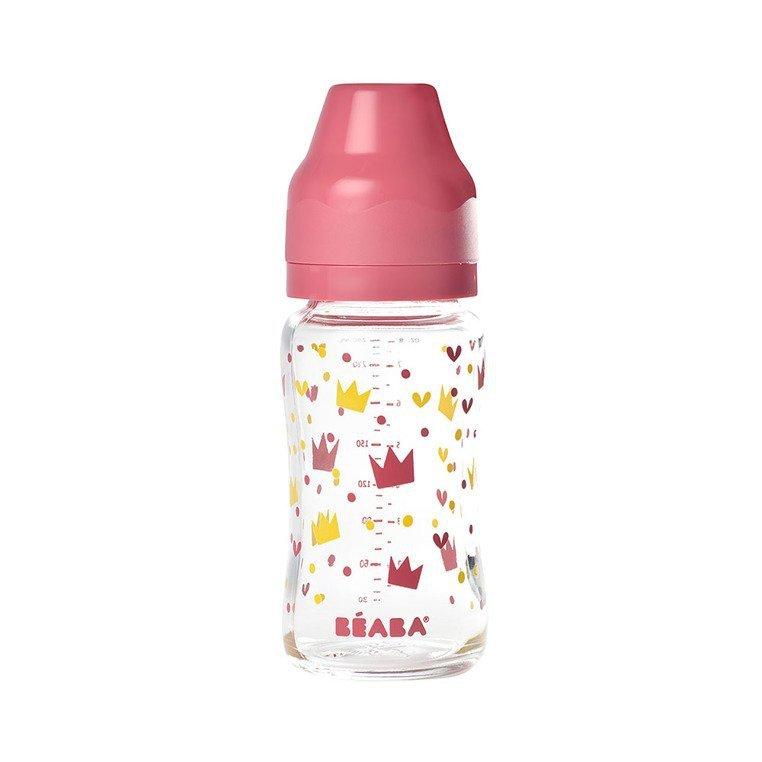 Beaba Butelka szklana szerokootworowa 240 ml Yellow / Pink Crown