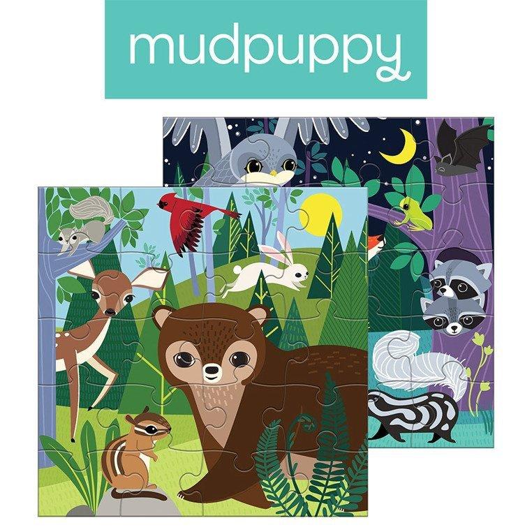 Mudpuppy Puzzle magnetyczne Noc i dzień w lesie 4+