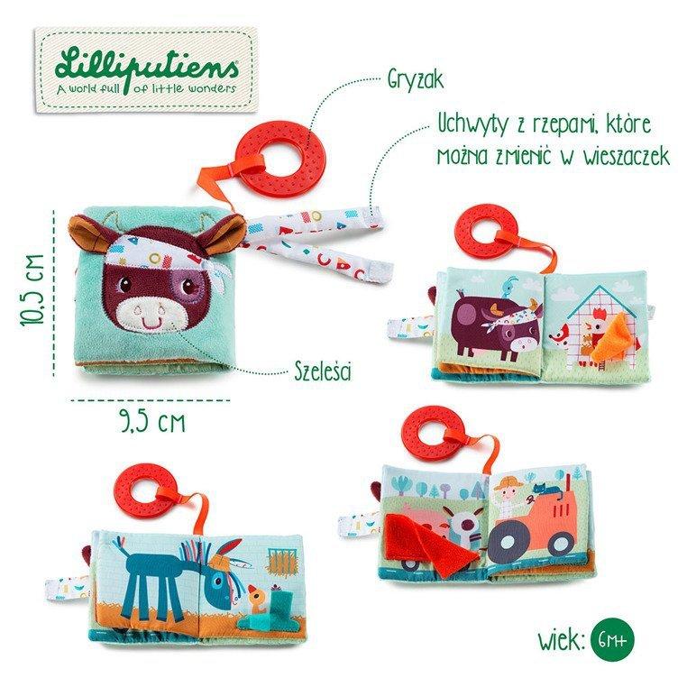 LILLIPUTIENS Mini-książeczka wielofunkcyjna z szeleszczącą folią i gryzakiem Farma 6 m+