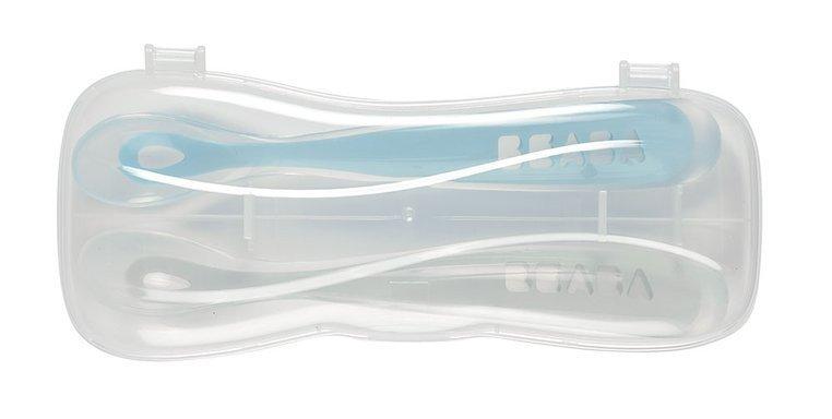 BEABA Zestaw łyżeczek silikonowych 4 m+ Windy Blue, 2 szt.