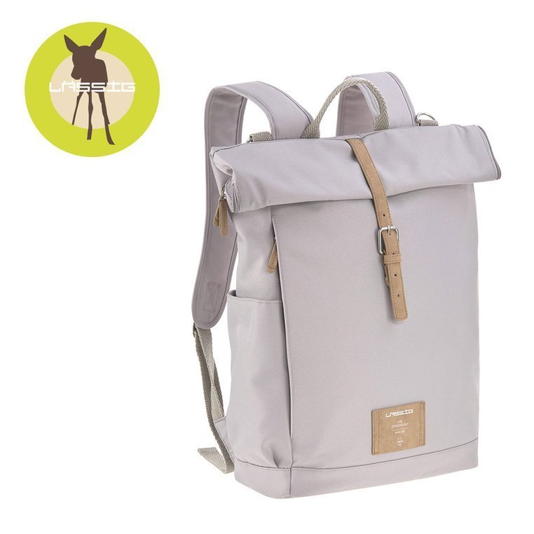 Lassig Green Label Plecak dla mam z akcesoriami Rolltop Backpack Grey