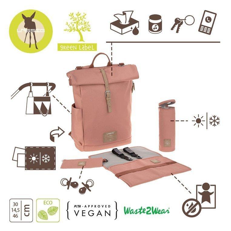 Lassig Green Label Plecak dla mam z akcesoriami Rolltop Backpack Cinnamon