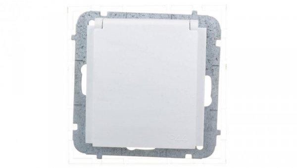 Sentia Gniazdo bryzgoszczelne z/u IP44 z przesłonami białe 1436-10