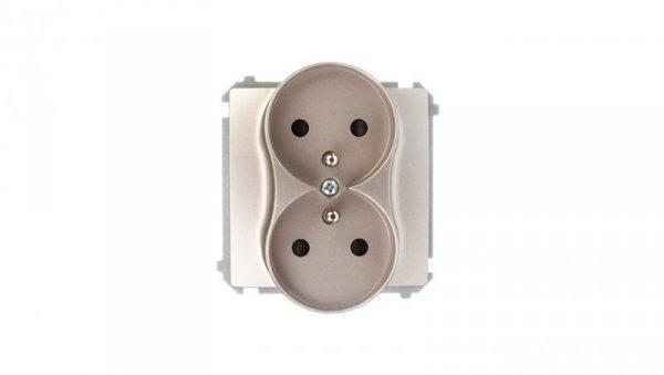 Simon Basic Gniazdo podwójne z/u 16A IP20 z przesłoną torów satynowe BMGZ2Mz.01/29