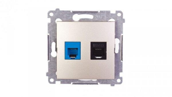 Simon 54 Gniazdo teleinformatyczne RJ45 kat.5e + RJ12 złoty mat D5T.01/44