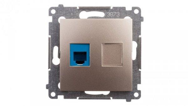 Simon 54 Gniazdo telefoniczne pojedyncze RJ12 złoty mat DT1.01/44