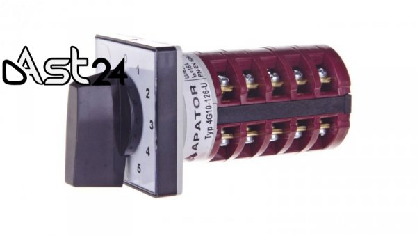 Łącznik krzywkowy 0-1-2-3-4-5 2P 10A do wbudowania 4G10-126-U