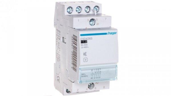 Stycznik modułowy cichy 25A 0Z 4R 24V AC ESD426S