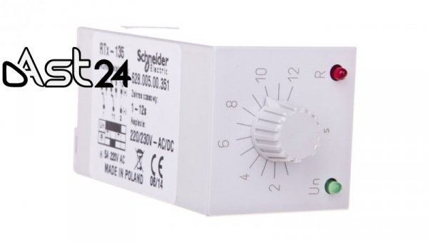 Przekaźnik czasowy jednofunkcyjny 2P 5A 1-12sek 220-230V AC/DC praca cykliczna RTX-135 220/230 12SEK 2002681
