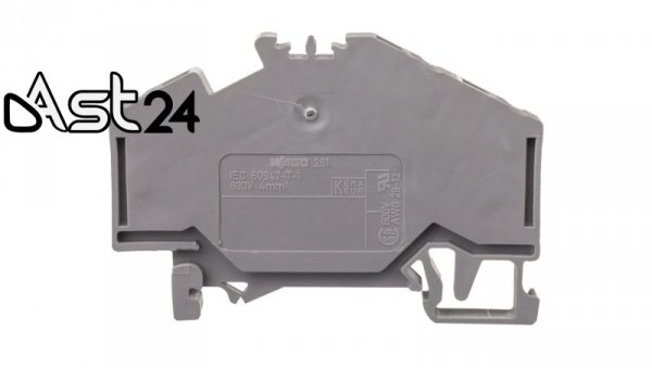 Złączka szynowa 3-przewodowa 4mm2 szara 281-631