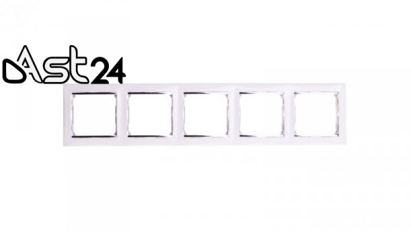 VALENA Ramka pięciokrotna pozioma biała/srebro 770495