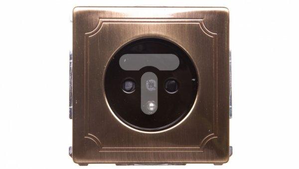 Merten System D Gniazdo pojedyncze z/u 16A IP20 mosiądz antyk MTN2500-4143