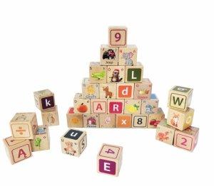 Drewniane klocki edukacyjne litery cyfry obrazki Ecotoys