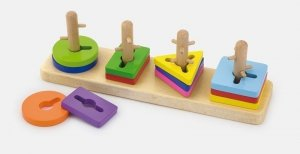 Drewniane klocki z sorterem kształtów - puzzle Viga