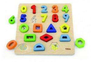 Drewniane puzzle sorter kształtów cyfry i kształty Viga