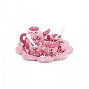 Drewniany serwis do herbaty i kawy pink flower Viga