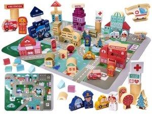 Klocki drewniane edukacyjne miasto 100el. + puzzle