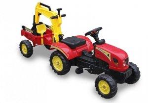 Traktor dla dzieci na pedały z łyżką i przyczepą czerwony