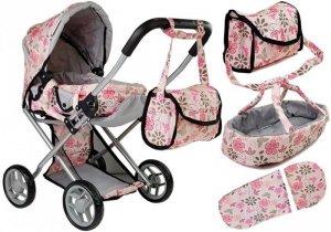 Wózek dla lalek Alice nosidełko torba Różowy w Kwiaty