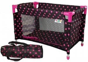 Łóżko łóżeczko dla Lalek Alice czarno-różowe