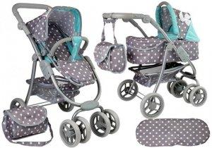 Wózek dla lalek spacerówka 2w1 z torbą gondola Szaro-Turkusowa