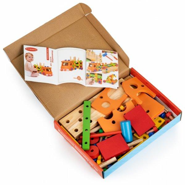 Drewniane klocki konstrukcyjne edukacyjne + narzędzia Ecotoys