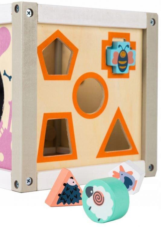 Drewniany sorter kostka edukacyjna + klocki Ecotoys
