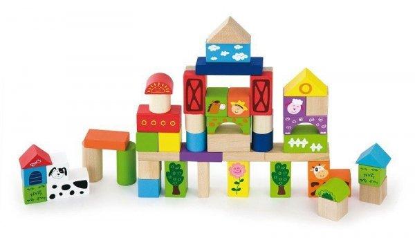 Drewniane klocki 50 elementów - farma Viga
