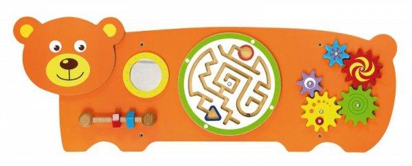 Drewniana sensoryczna tablica manipulacyjna - miś Viga