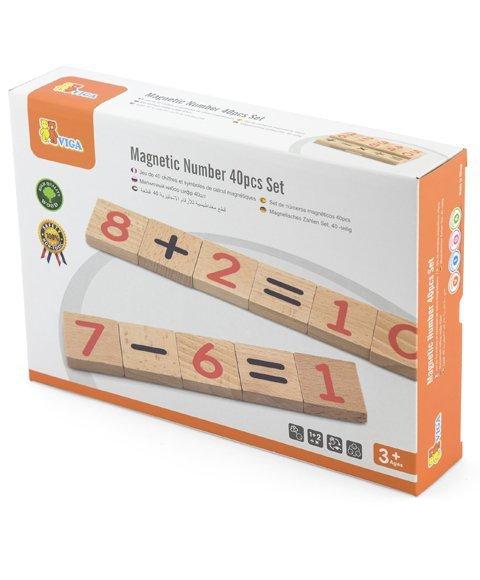 Drewniany zestaw magnetycznych cyferek - 40 elementów Viga