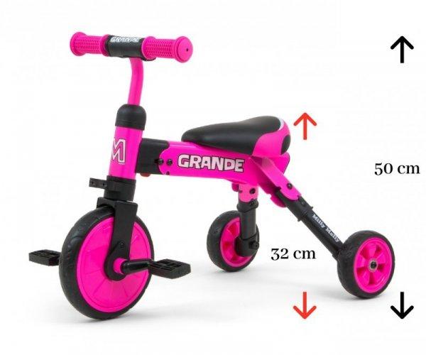 Rowerek na pedały, biegowy 2w1 Grande Pink  Milly Mally