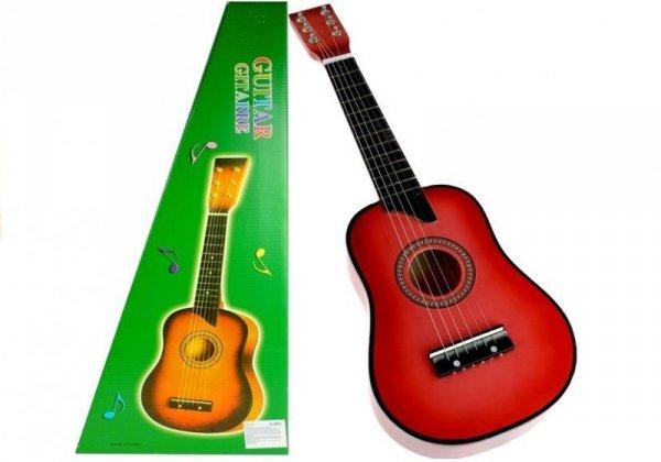 Gitara drewniana klasyczna dla dzieci z kostką Różowa 60 cm