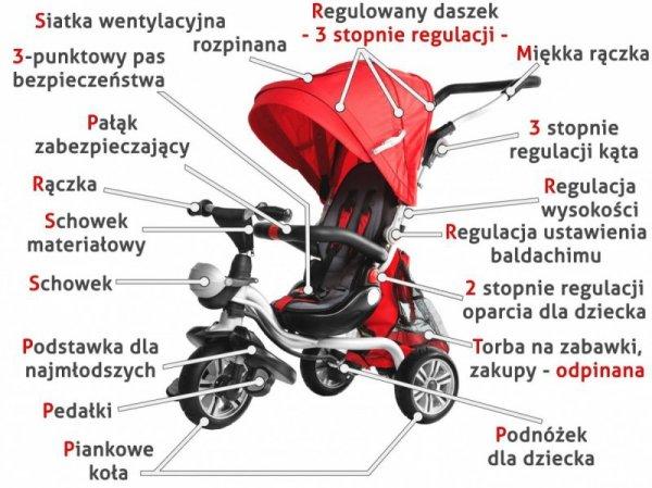 Rowerek trójkołowy  SporTrike Adventure Czerwony