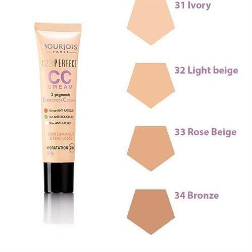BOURJOIS 123 Perfect CC Cream krem CC dla kobiet z pigmentami korygujacymi 30ml (32 Light Beige)