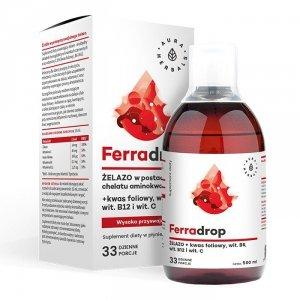 AURA HERBALS FerraDrop w płynie 500ml - żelazo + kwas foliowy